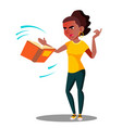 angry student in stress throws away a book vector image vector image