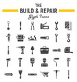 build and repair glyph icon set construction sign vector image vector image