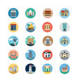 Buildings Flat Colored Icons 3 vector image vector image