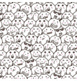 bunny doodle art pattern background vector image vector image