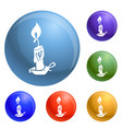 burning candle icons set vector image