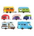 campers cars set different resort trailers vector image vector image