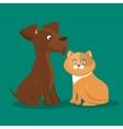cartoon pets cat dog icon vector image