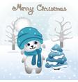 christmas card christmas with rabbit bunny vector image