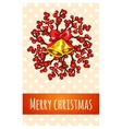 Christmas greeting card with bell and berries vector image vector image