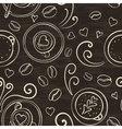 Coffee outline seamless pattern vector image vector image