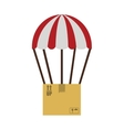 colorful parachute with cardboard box vector image vector image