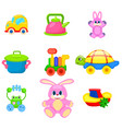 colorful toys for preschoolers set vector image