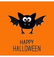 Cute cartoon bat Happy Halloween card Flat design vector image