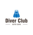 diving club logo design inspiration in blue color vector image