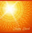 diwali festival greeting card with rangoli vector image vector image