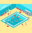 family pool isometric composition vector image vector image