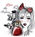fashion face pretty girl looking on perfume vector image vector image