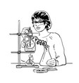 female scientist with test tubes laboratory vector image