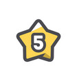 five stars rating icon cartoon vector image