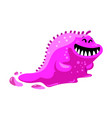 friendly toothy slug monster alien with pink vector image