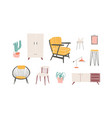 furniture elements hand drawn vector image