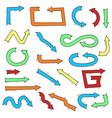 hand drawn colored arrows vector image vector image