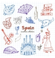 hand drawn doodle spain symbols set vector image vector image