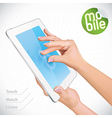 Hand Holding Tablet Pad vector image
