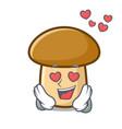 in love porcini mushroom mascot cartoon vector image vector image