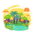 indian jungle full of green trees vector image vector image