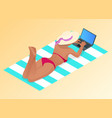 isometric young woman working on beach vector image