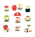 Japanese Sushi Man Different Activities vector image vector image