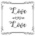 love abstract heart arrow square frame backgr vector image vector image