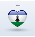 Love Lesotho symbol Heart flag icon vector image vector image