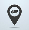 Map pointer with a truck symbol vector image vector image