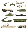 Military technic icon set and armor tanks flat vector image