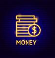 money coin neon label vector image vector image