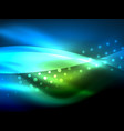 neon wave background with light effects curvy vector image vector image
