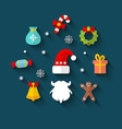 New Year Colorful Simple Flat Icons vector image