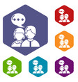 people conversation icons hexahedron vector image vector image