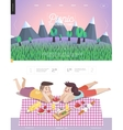 Picnic web template with lilac sky vector image vector image