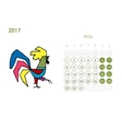 Rooster calendar 2017 for your design May month vector image vector image