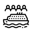 sea crossing liner people icon outline vector image vector image