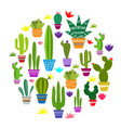Set cute cactus