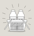 shopping basket with juice bottles monochrome vector image