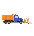 snow plow truck in flat style isolated on white vector image vector image