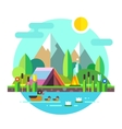 Summer landscape tent mountains lake Hiking vector image vector image