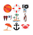 summer related stuff icon design set vector image vector image