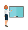 teacher showing presentation cartoon flat vector image