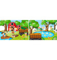 two farm scenes with kids and animals vector image vector image