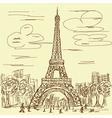 vintage hand drawn of eifel tower Paris France vector image vector image