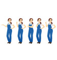 woman in overalls set vector image vector image