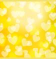 yellow gold bokeh heart pattern vector image vector image