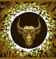 zodiac sign of taurus in earth circle vector image vector image